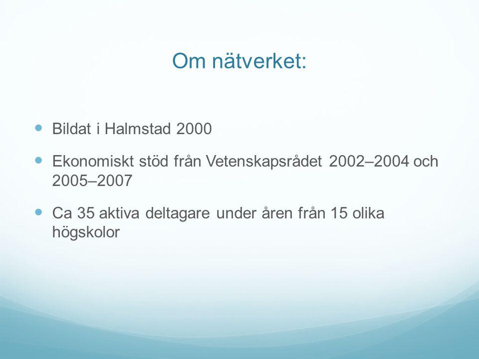 Om nätverket: Bildat i Halmstad 2000