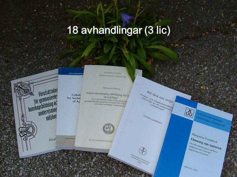18 avhandlingar (3 lic)