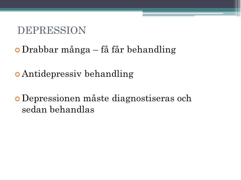 DEPRESSION Drabbar många – få får behandling Antidepressiv behandling