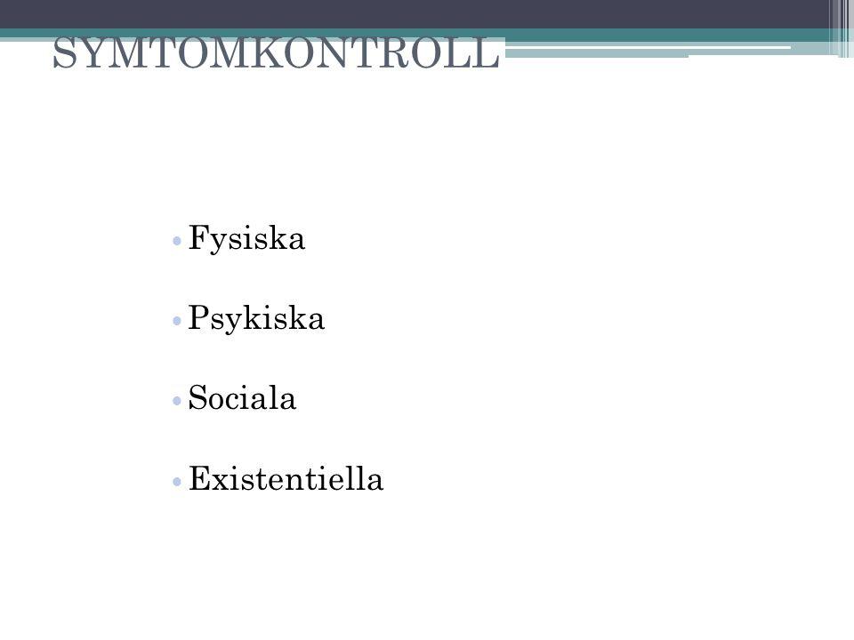 SYMTOMKONTROLL Fysiska Psykiska Sociala Existentiella 3