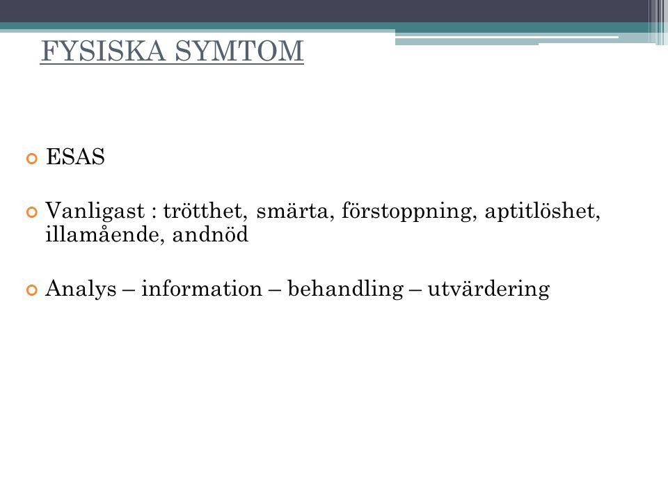 FYSISKA SYMTOM ESAS. Vanligast : trötthet, smärta, förstoppning, aptitlöshet, illamående, andnöd.
