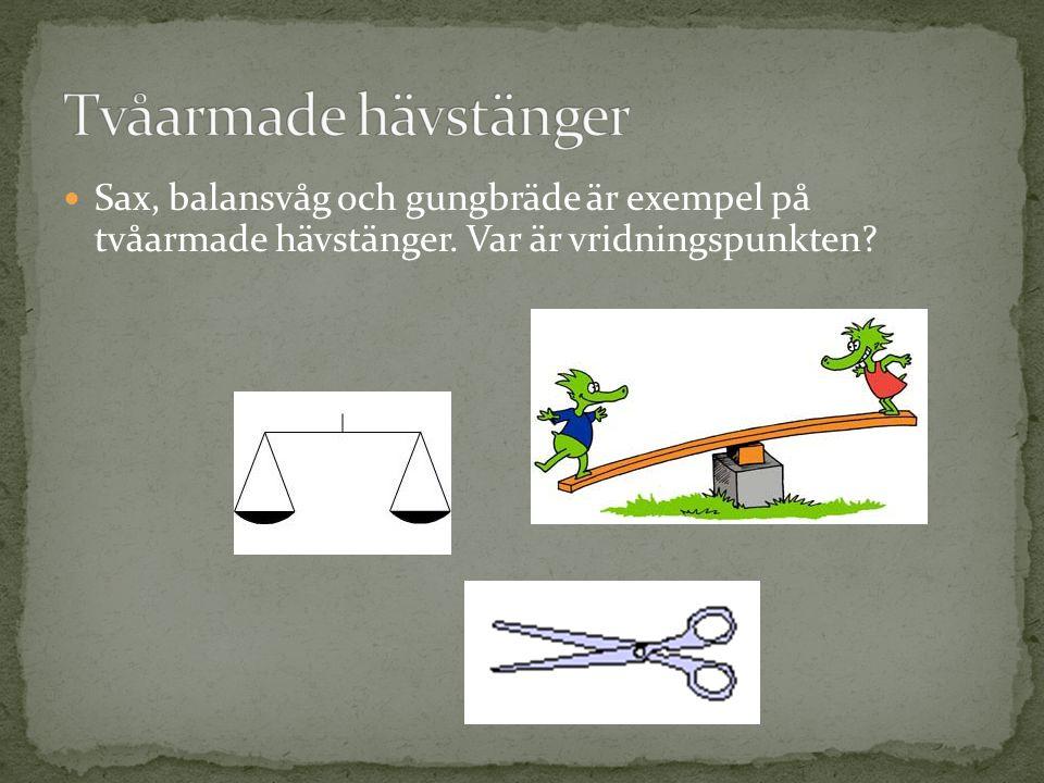 Tvåarmade hävstänger Sax, balansvåg och gungbräde är exempel på tvåarmade hävstänger.