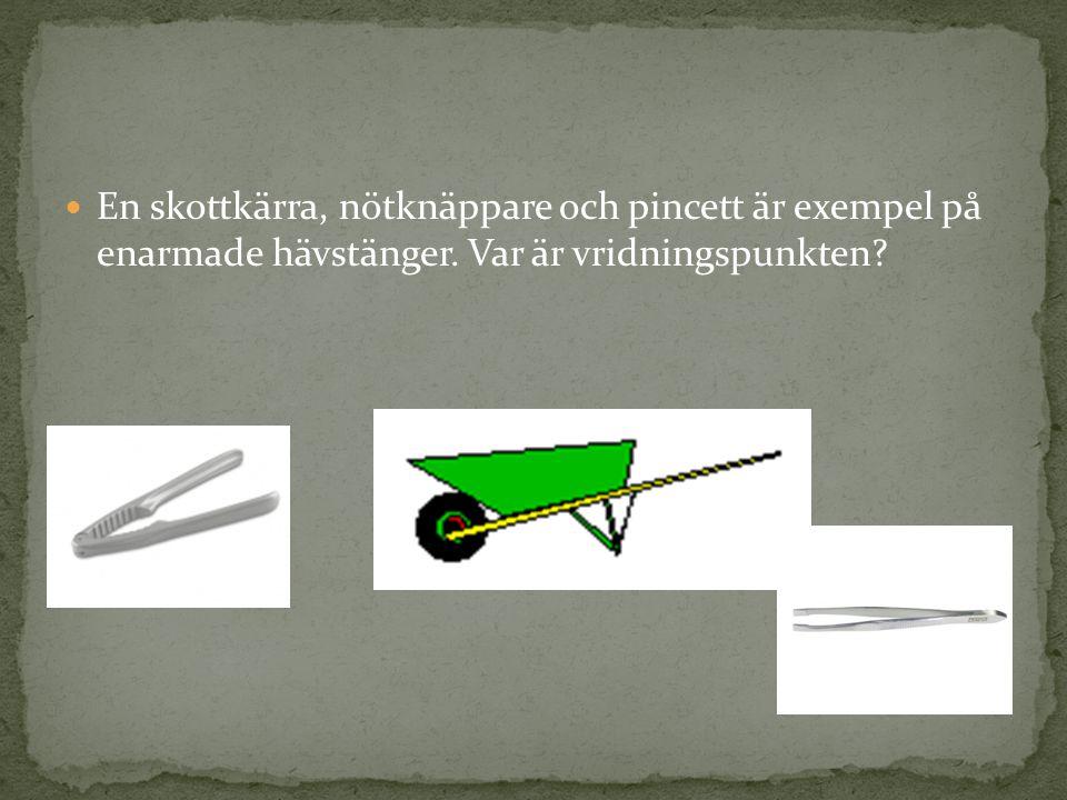 En skottkärra, nötknäppare och pincett är exempel på enarmade hävstänger. Var är vridningspunkten