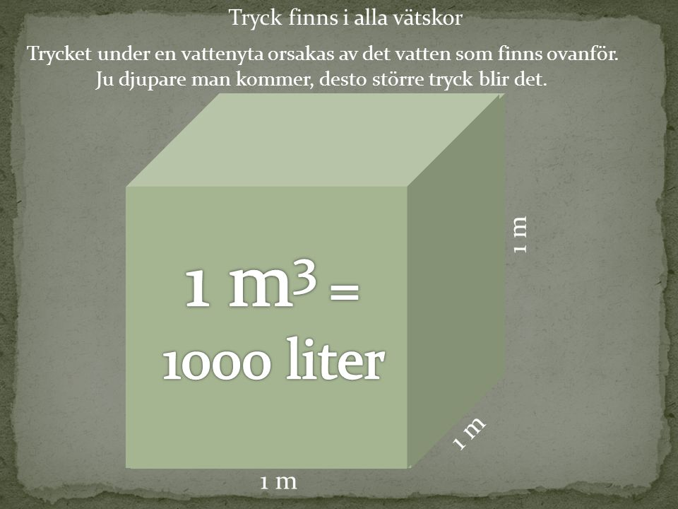 1 m3 = 1000 liter 1 m 1 m 1 m Tryck finns i alla vätskor