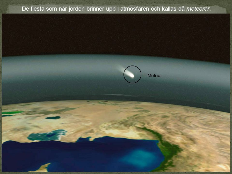 De flesta som når jorden brinner upp i atmosfären och kallas då meteorer.