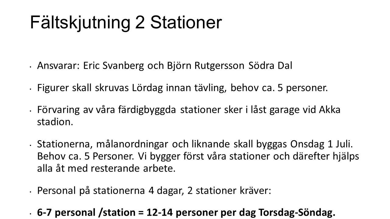 Fältskjutning 2 Stationer