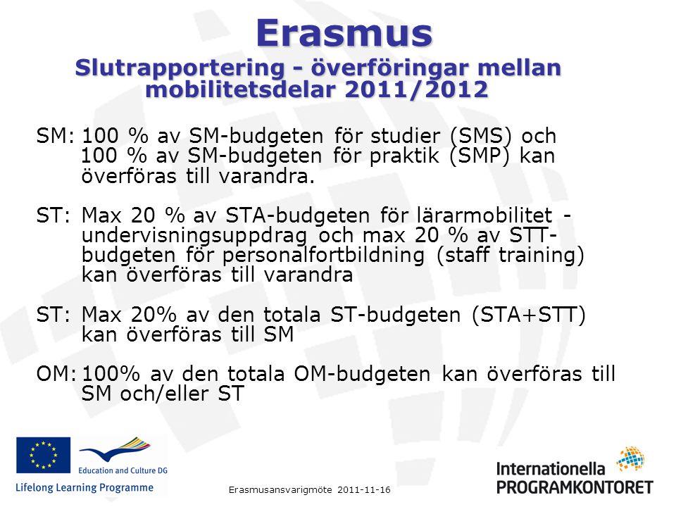 Slutrapportering - överföringar mellan mobilitetsdelar 2011/2012
