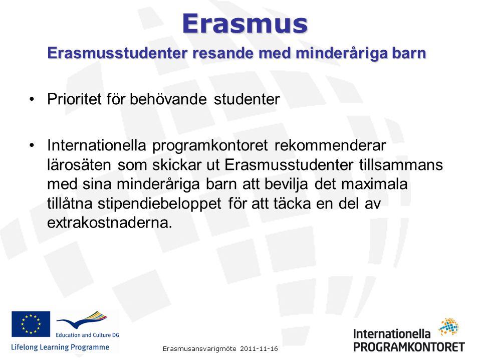Erasmusstudenter resande med minderåriga barn