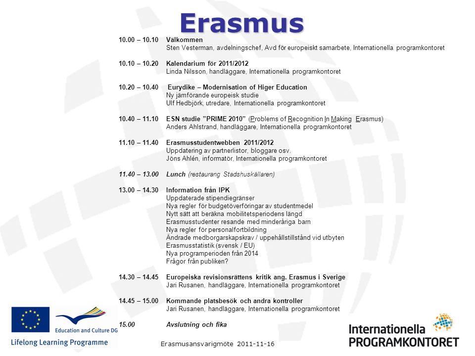 10.00 – 10.10 Välkommen Sten Vesterman, avdelningschef, Avd för europeiskt samarbete, Internationella programkontoret.