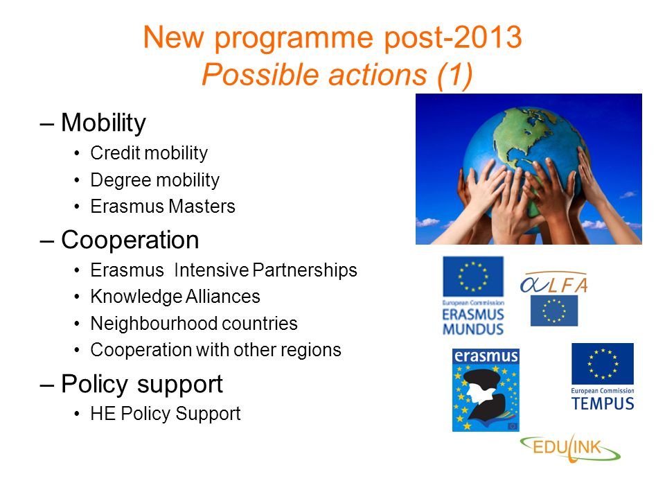 New programme post-2013 Possible actions (1)
