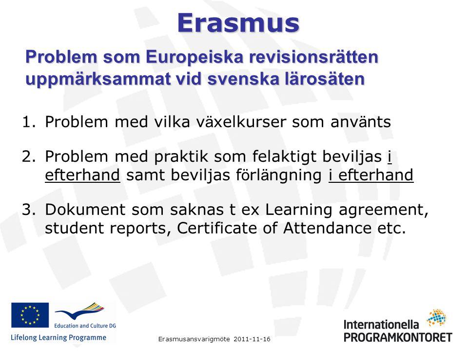 Problem som Europeiska revisionsrätten uppmärksammat vid svenska lärosäten