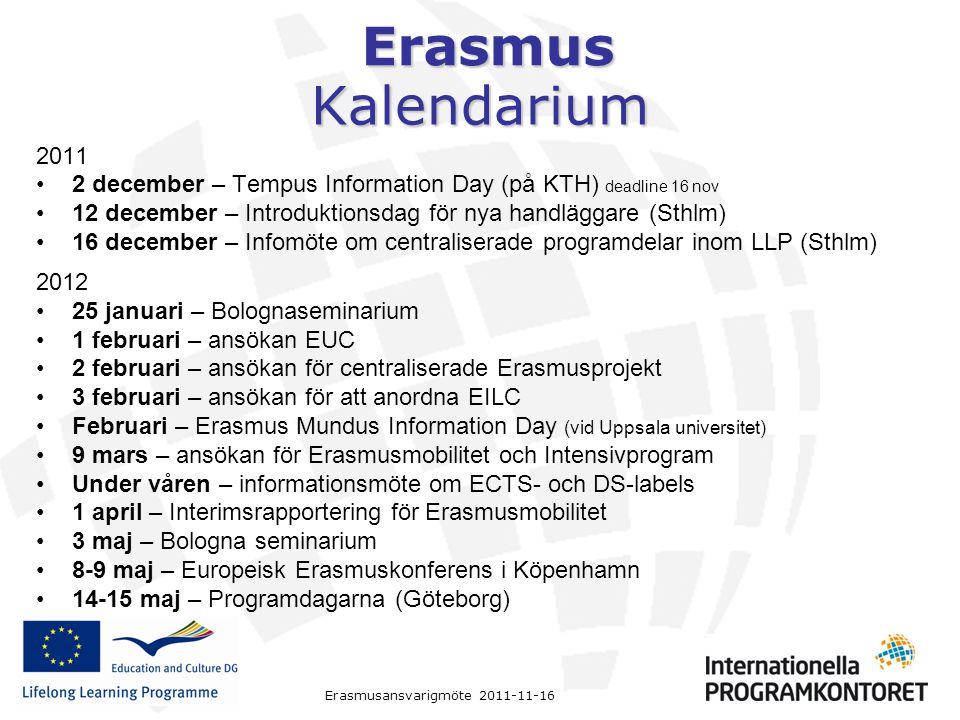 Kalendarium 2011. 2 december – Tempus Information Day (på KTH) deadline 16 nov. 12 december – Introduktionsdag för nya handläggare (Sthlm)