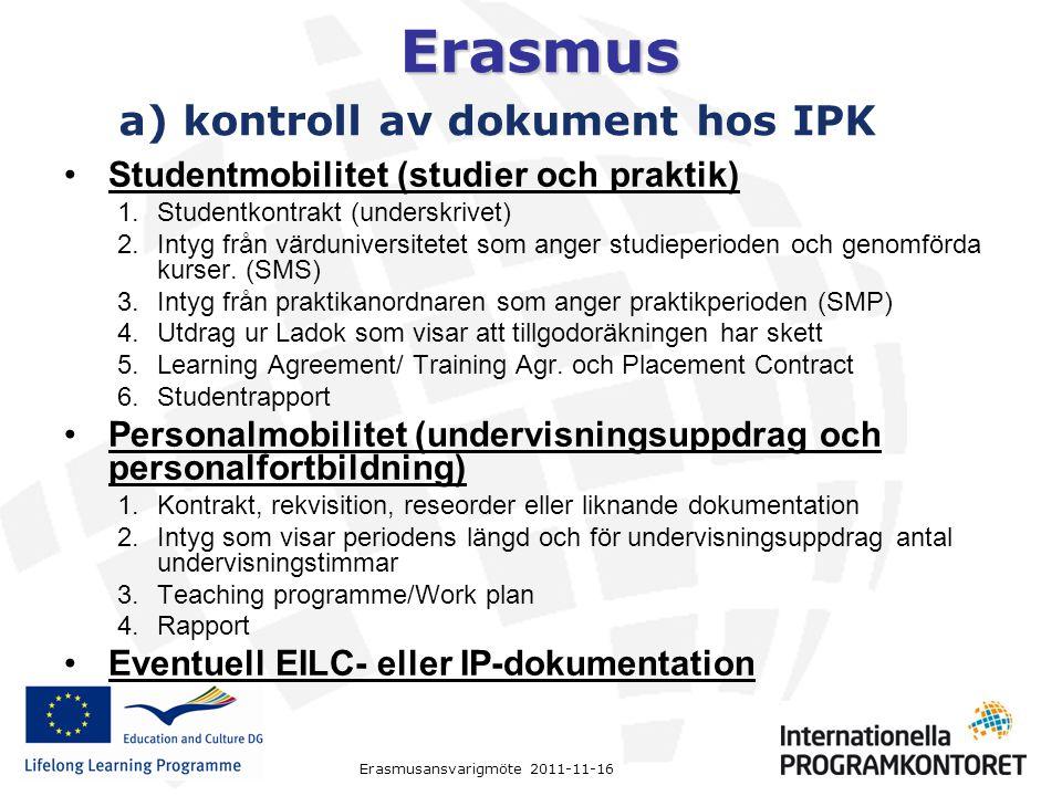 a) kontroll av dokument hos IPK