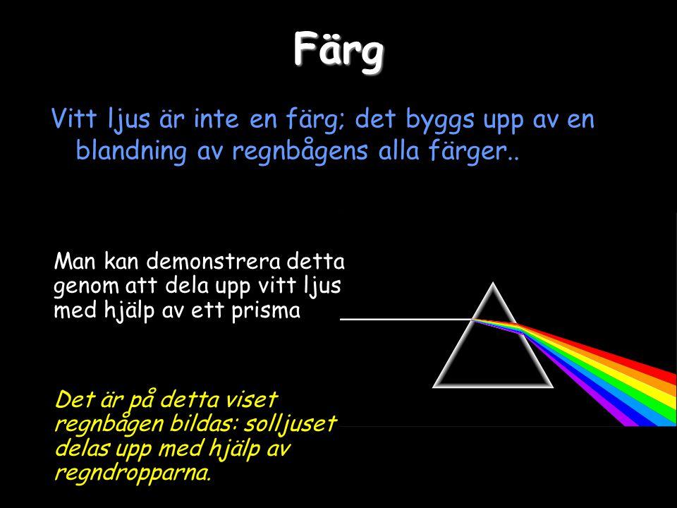 Färg Vitt ljus är inte en färg; det byggs upp av en blandning av regnbågens alla färger..