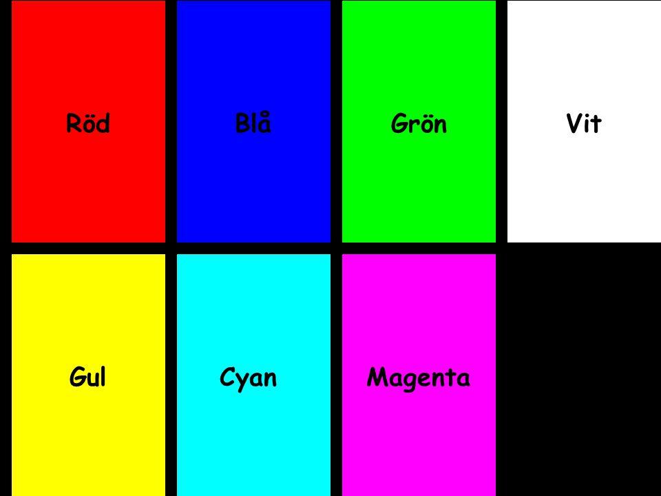 Röd Blå Grön Vit Gul Cyan Magenta