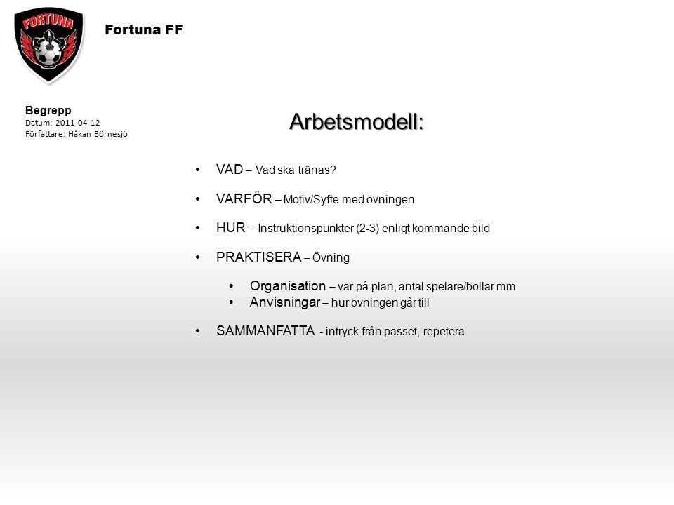 Arbetsmodell: Fortuna FF VAD – Vad ska tränas