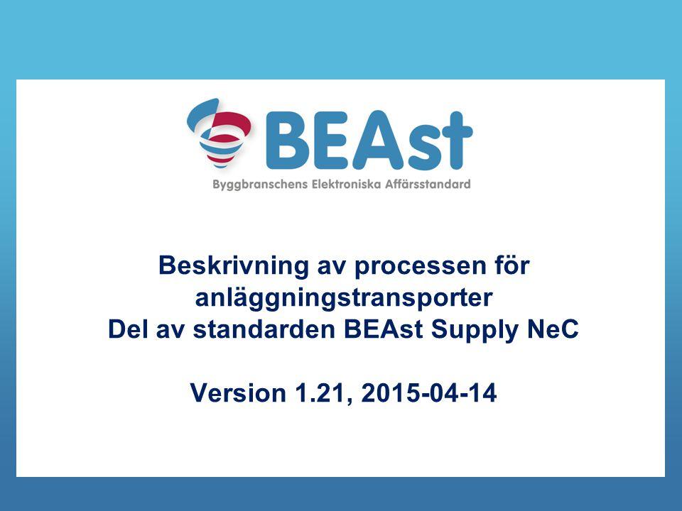 Beskrivning av processen för anläggningstransporter Del av standarden BEAst Supply NeC Version 1.21, 2015-04-14