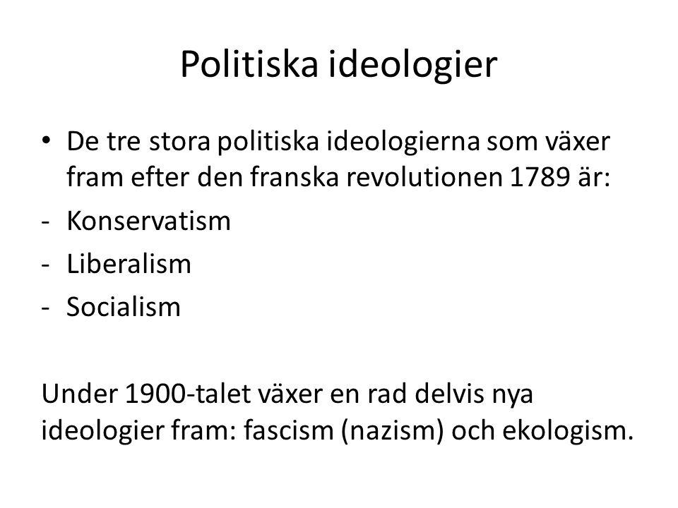 Politiska ideologier De tre stora politiska ideologierna som växer fram efter den franska revolutionen 1789 är: