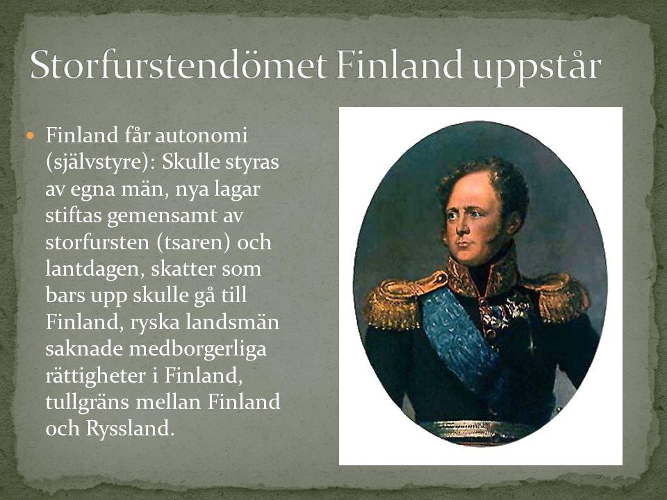 Storfurstendömet Finland uppstår