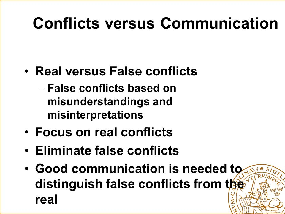 Conflicts versus Communication