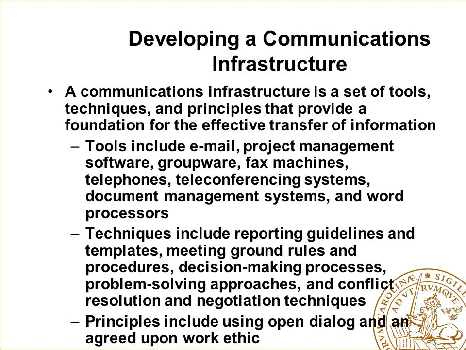 Developing a Communications Infrastructure
