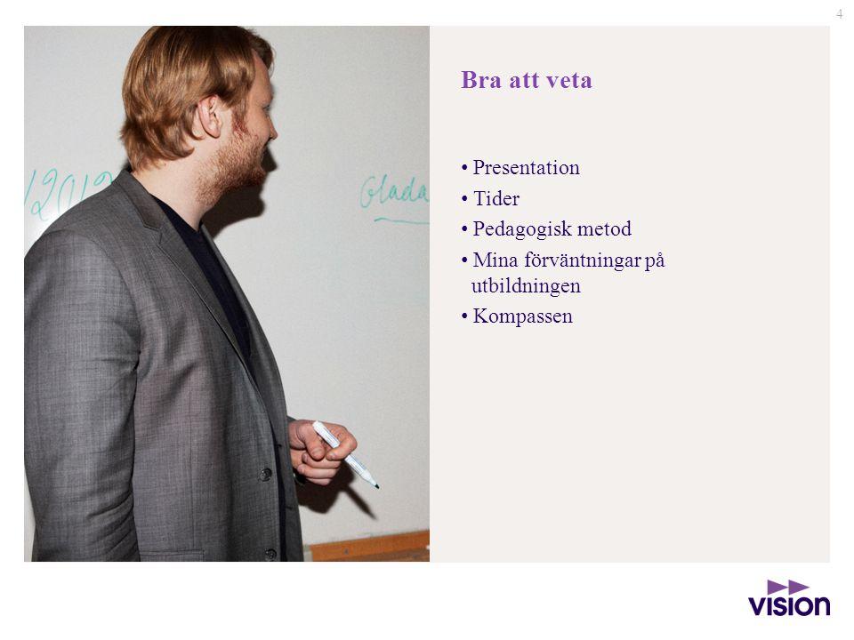 Bra att veta Presentation Tider Pedagogisk metod