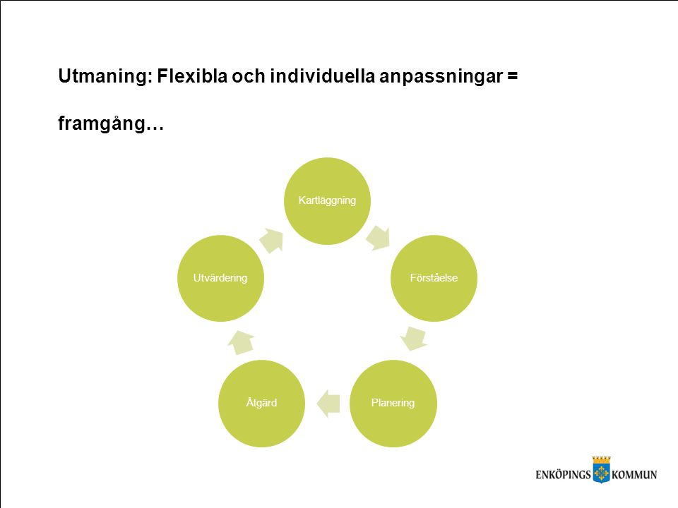 Rutiner - Vikten av ett systematiskt processarbete Utmaning: Flexibla och individuella anpassningar = framgång…