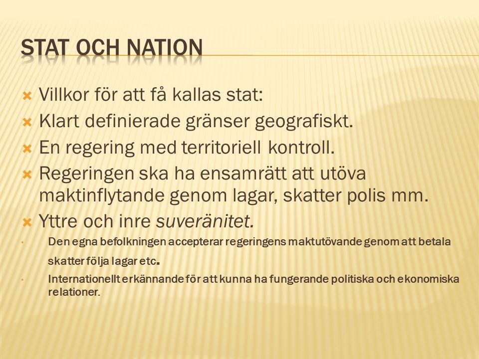 Stat och nation Villkor för att få kallas stat: