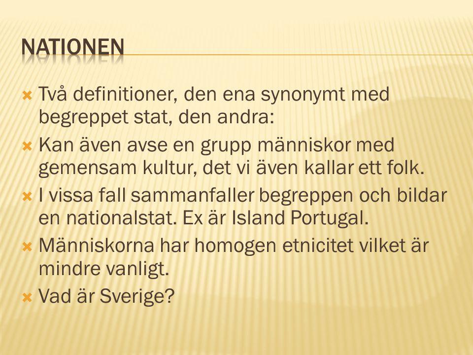 Nationen Två definitioner, den ena synonymt med begreppet stat, den andra:
