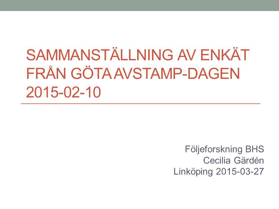 Sammanställning av enkät från Göta avstamp-dagen 2015-02-10