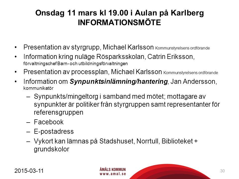 Onsdag 11 mars kl 19.00 i Aulan på Karlberg INFORMATIONSMÖTE