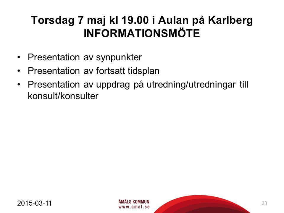 Torsdag 7 maj kl 19.00 i Aulan på Karlberg INFORMATIONSMÖTE