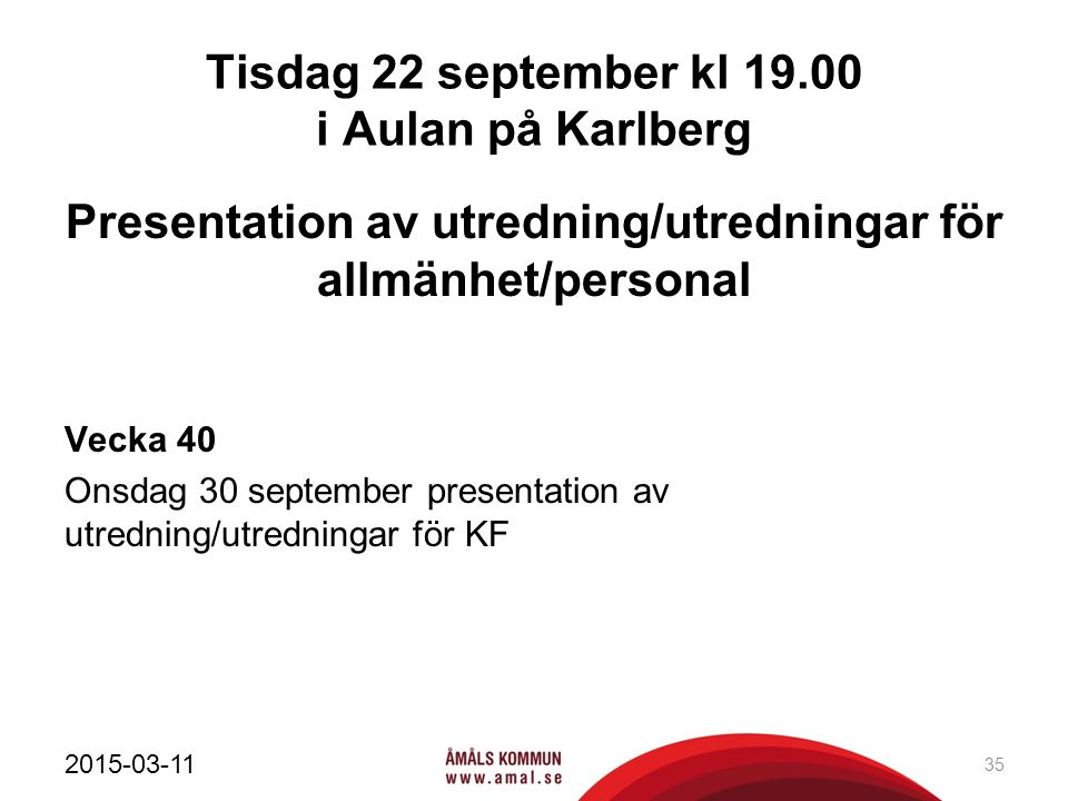 Tisdag 22 september kl 19.00 i Aulan på Karlberg