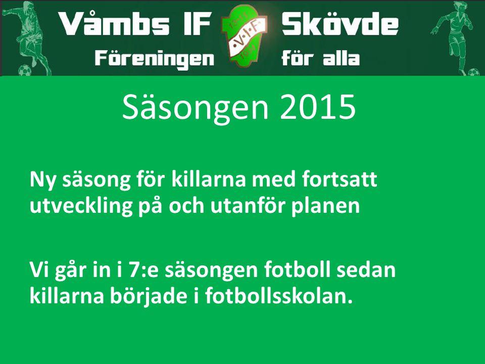 Säsongen 2015 Ny säsong för killarna med fortsatt utveckling på och utanför planen.