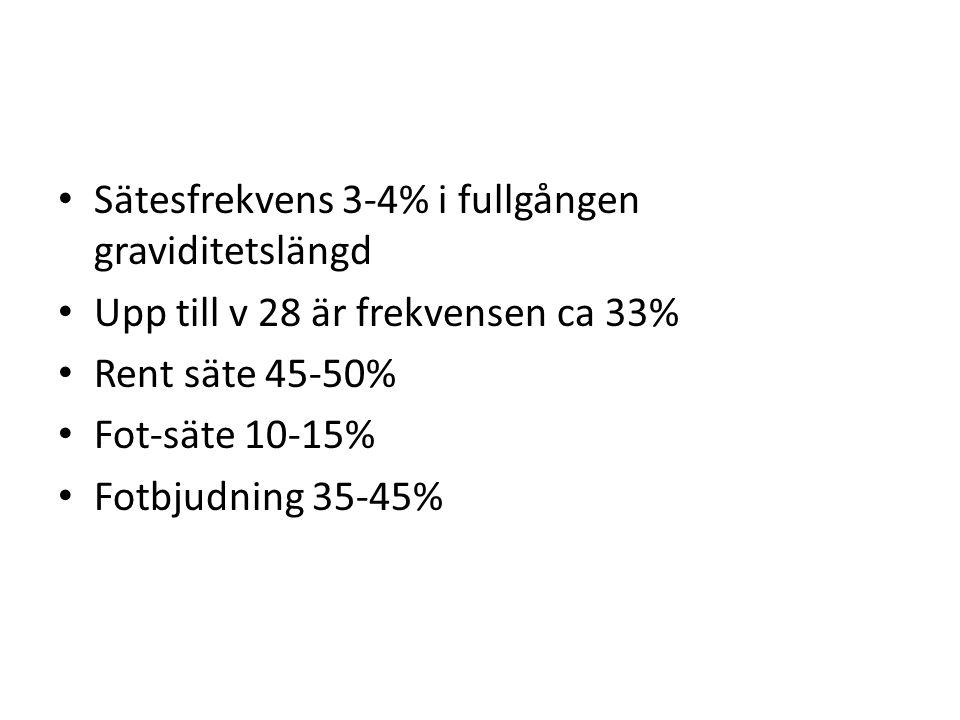 Sätesfrekvens 3-4% i fullgången graviditetslängd