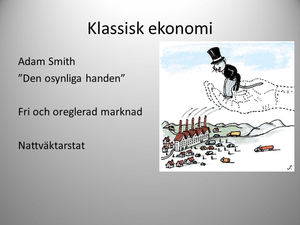 Klassisk ekonomi Adam Smith Den osynliga handen Fri och oreglerad marknad Nattväktarstat