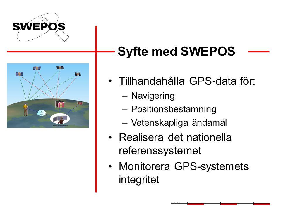 Syfte med SWEPOS Tillhandahålla GPS-data för: