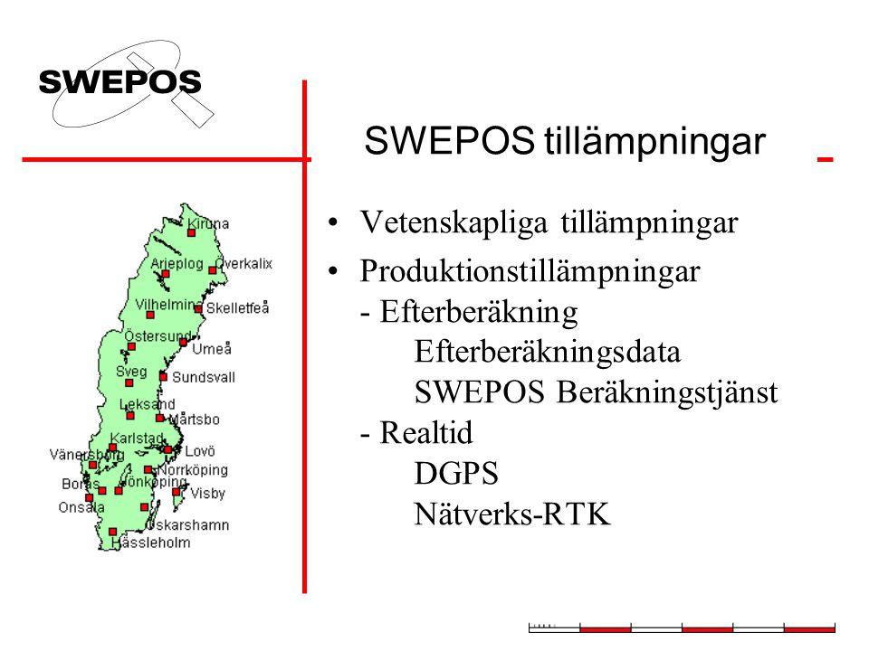 SWEPOS tillämpningar Vetenskapliga tillämpningar