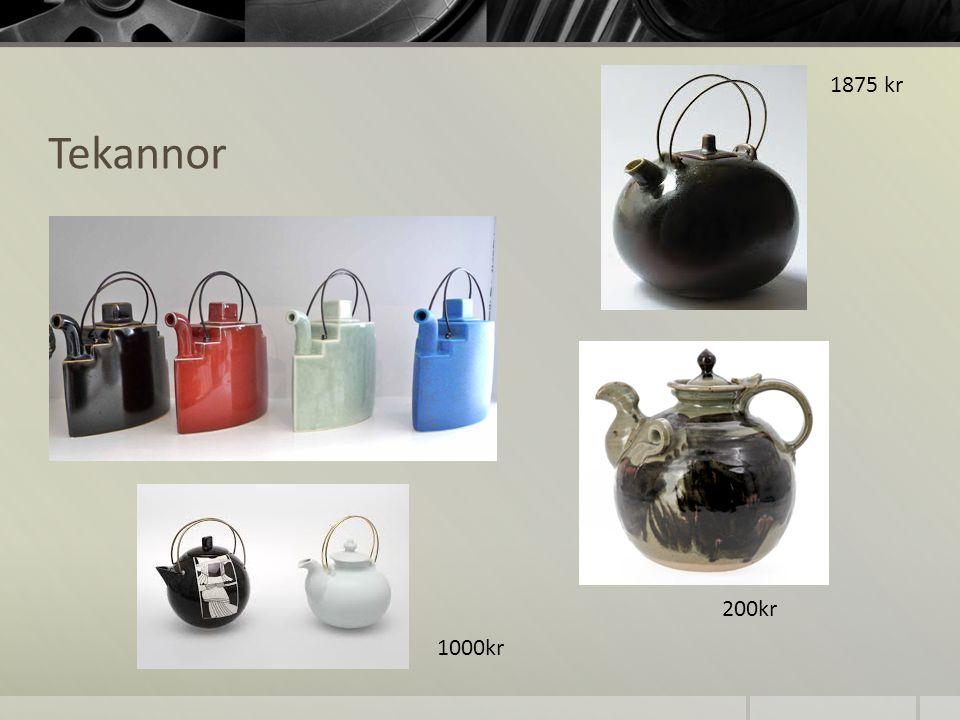 1875 kr Tekannor 200kr 1000kr