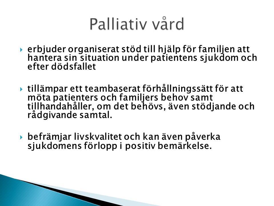Palliativ vård erbjuder organiserat stöd till hjälp för familjen att hantera sin situation under patientens sjukdom och efter dödsfallet.