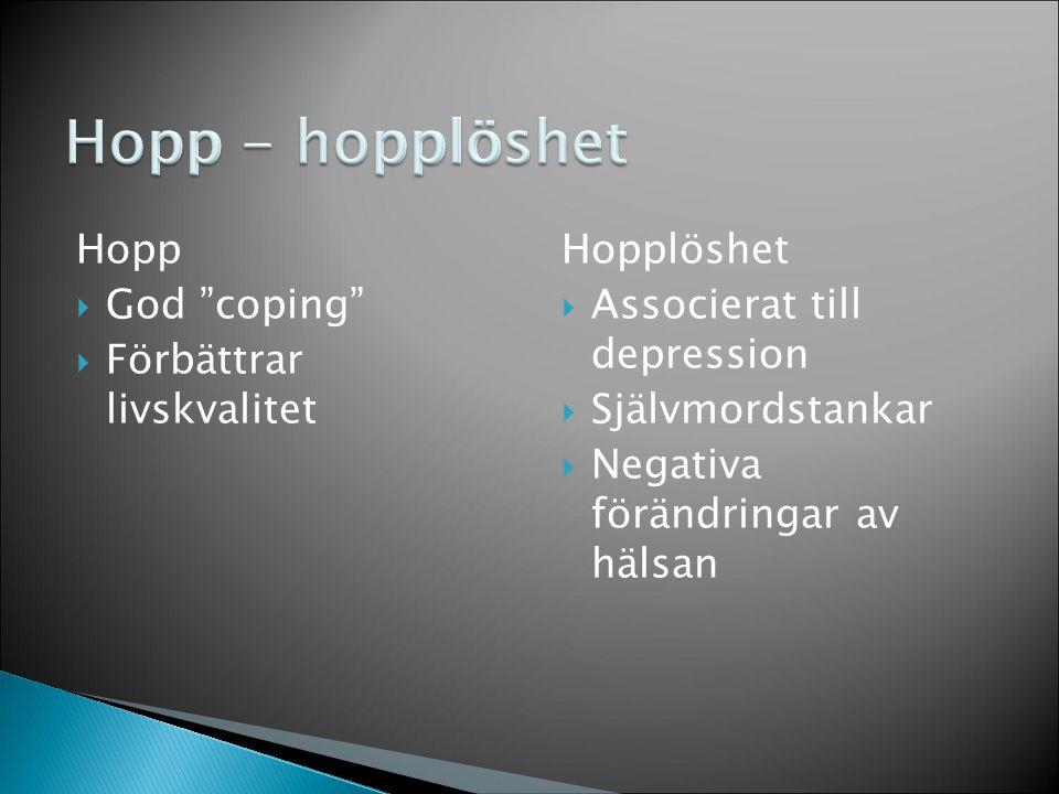 Hopp - hopplöshet Hopp God coping Förbättrar livskvalitet Hopplöshet