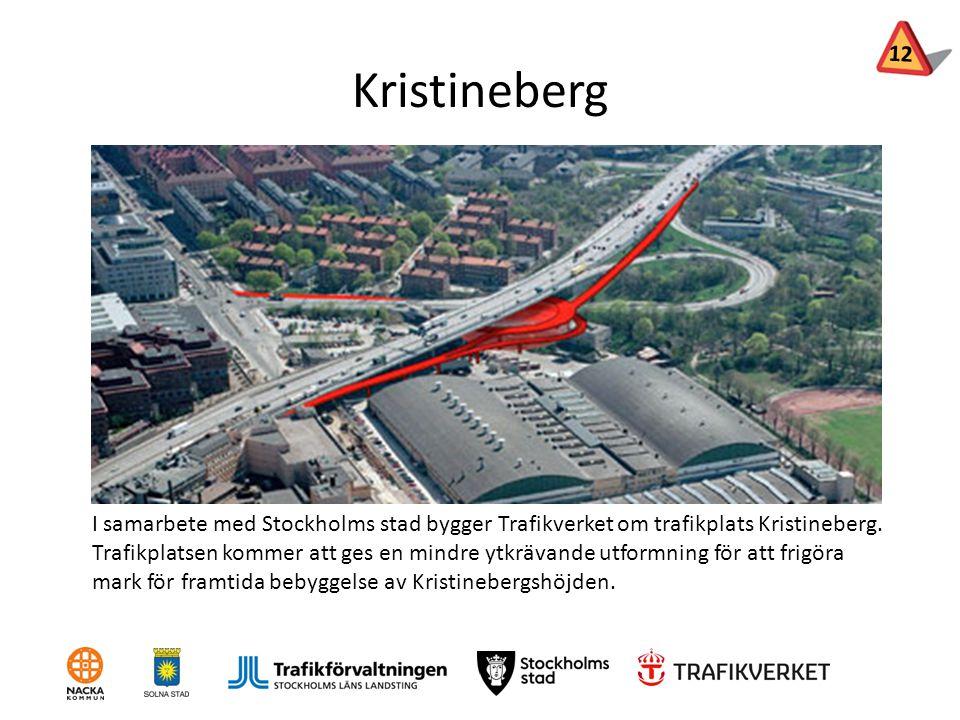 12 Kristineberg. Syfte: Frigöra mark för framtida bebyggelse av Kristinebergshöjden, väster om Essingeleden.