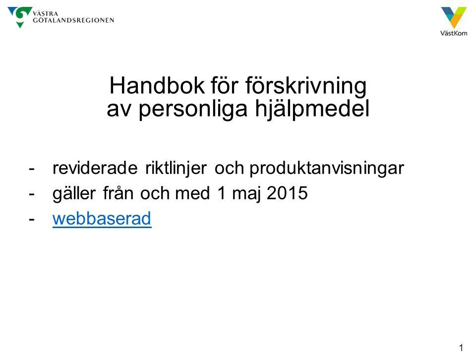 Handbok för förskrivning av personliga hjälpmedel