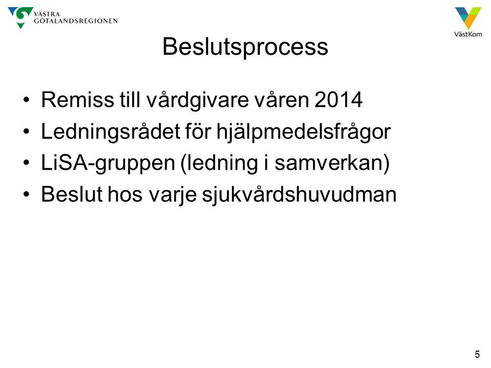 Beslutsprocess Remiss till vårdgivare våren 2014
