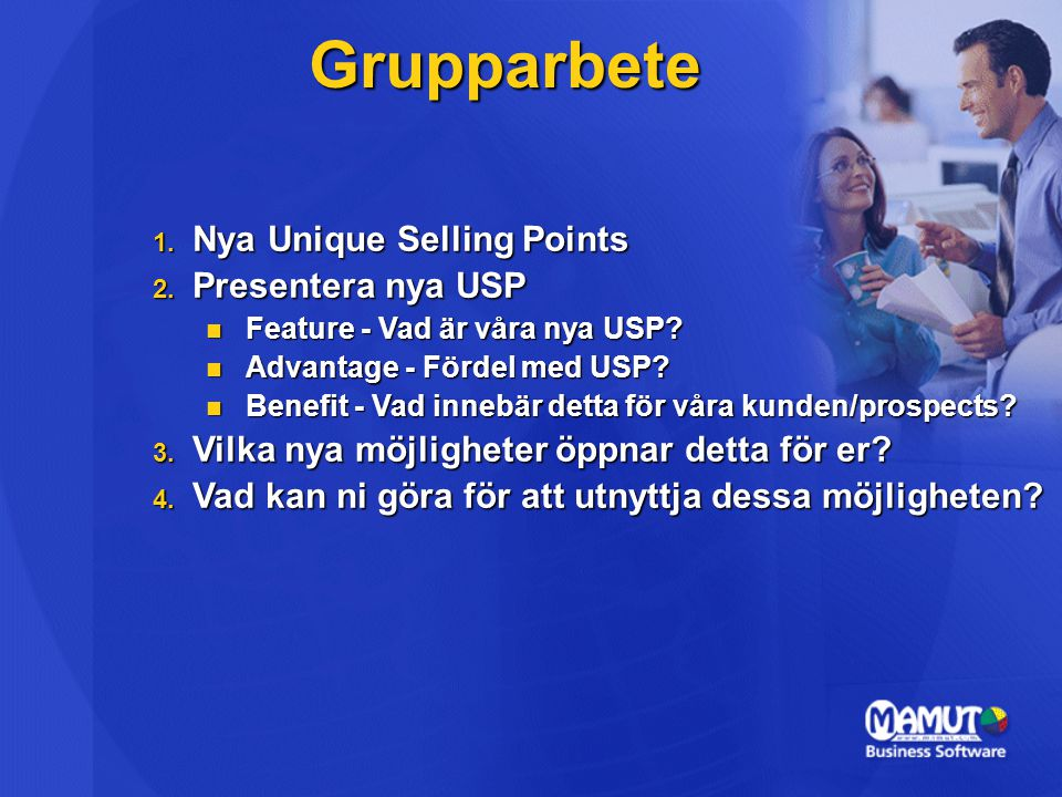 Grupparbete Nya Unique Selling Points Presentera nya USP