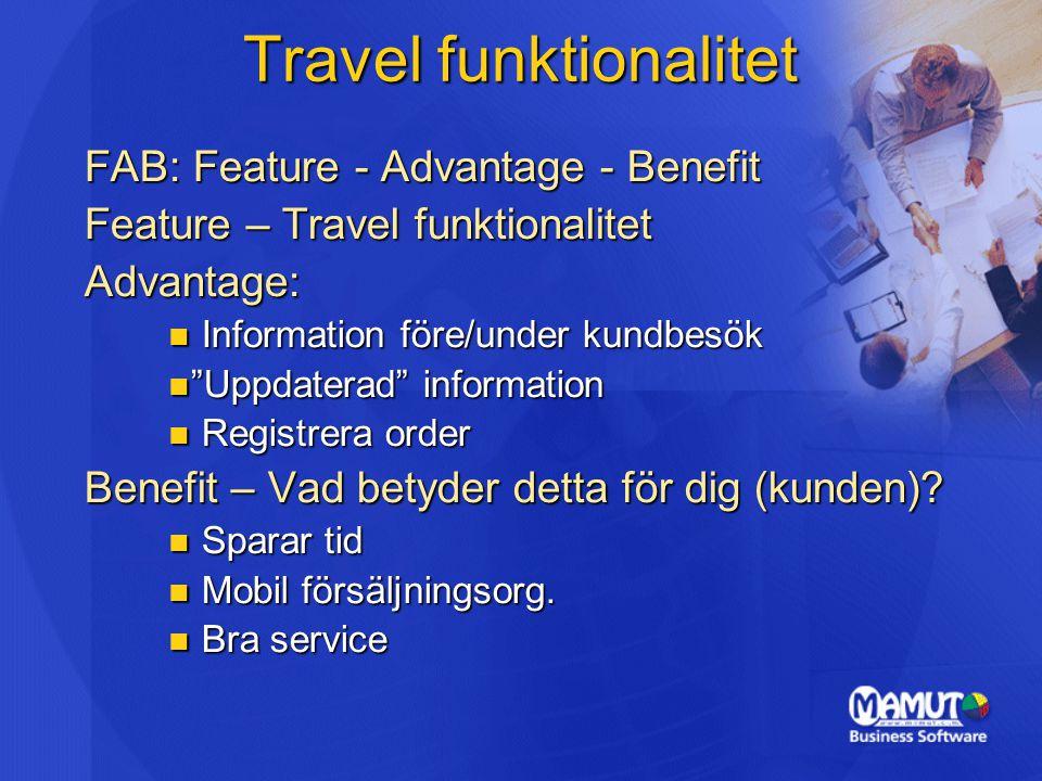 Travel funktionalitet