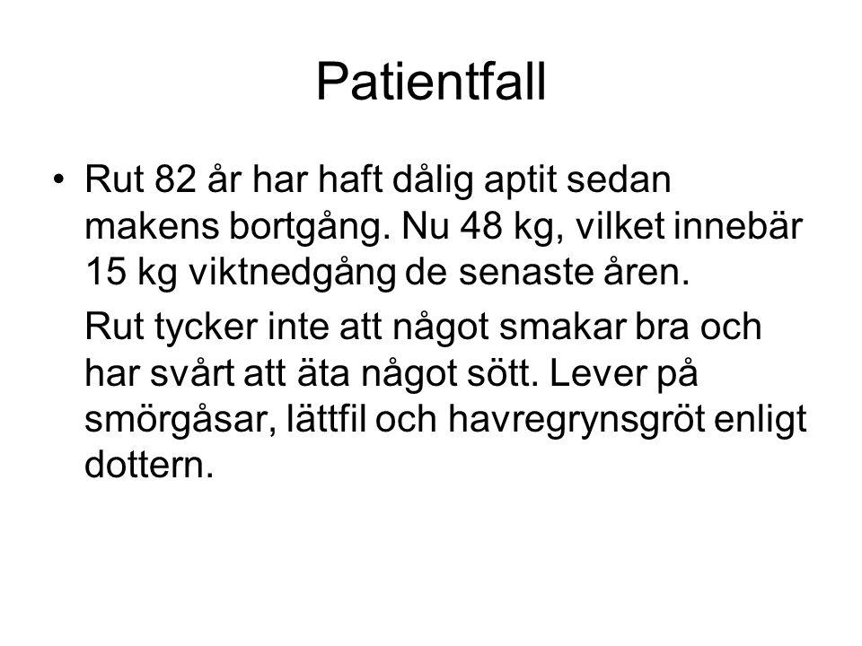 Patientfall Rut 82 år har haft dålig aptit sedan makens bortgång. Nu 48 kg, vilket innebär 15 kg viktnedgång de senaste åren.