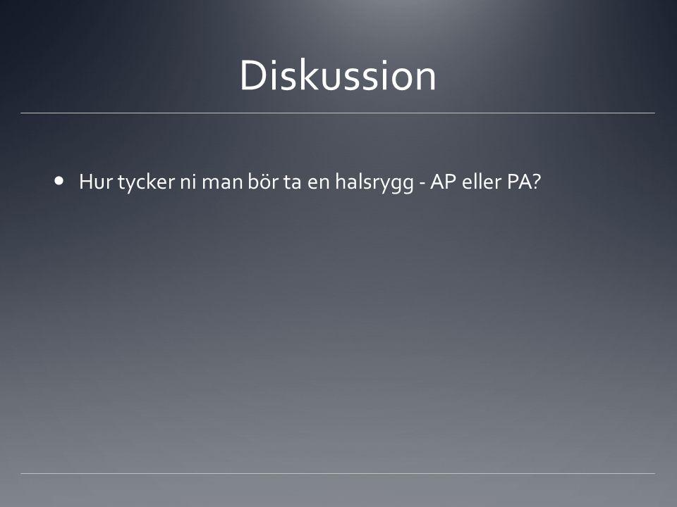 Diskussion Hur tycker ni man bör ta en halsrygg - AP eller PA