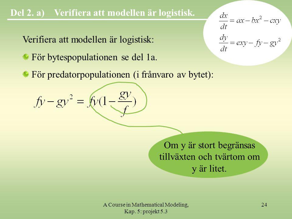Verifiera att modellen är logistisk.