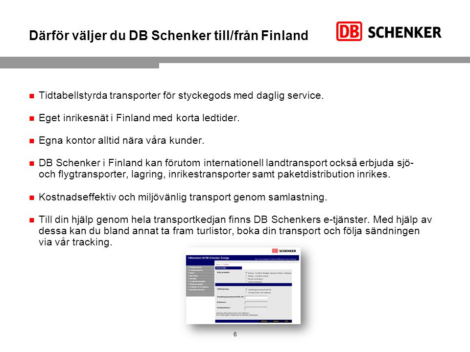 Därför väljer du DB Schenker till/från Finland